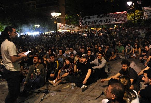 Salah satu foto gerakan dewan rakyat yang menerapkan demokrasi langsung di Yunani.