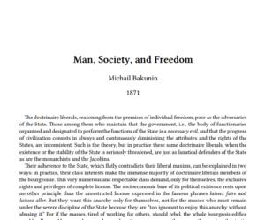 Michail Bakunin -Man, Dociety and Freedom
